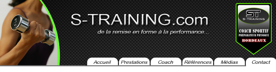 contact et menu de s-training;com